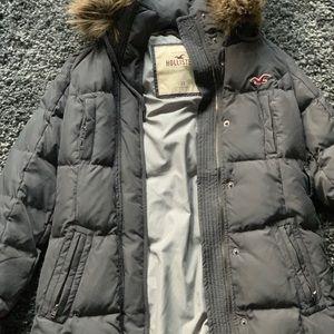 Hollister grey puffy coat with fur hood